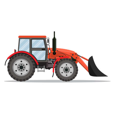 quarry: red Tractor bulldozer icon isolated on white background. Vector illustration in flat design Illustration