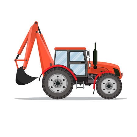 mini loader: red Tractor excavator icon isolated on white background. Vector illustration in flat design Illustration