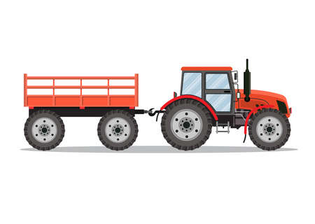 green tractor with semi-trailer icon isolated over white background. Vector illustration in flat design