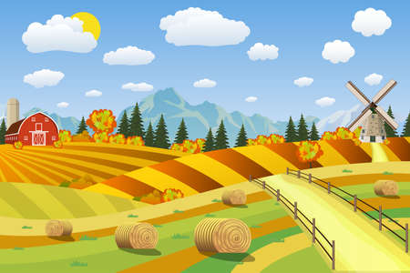 Countryside landscape with haystacks on fields. Rural area landscape. Hay bales. Farm flat landscape. Organic food concept for any design Çizim