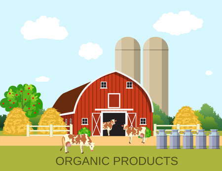 colorful milk farm life with natural economy. Farm flat landscape. Organic food concept for any design, web, agricultural application