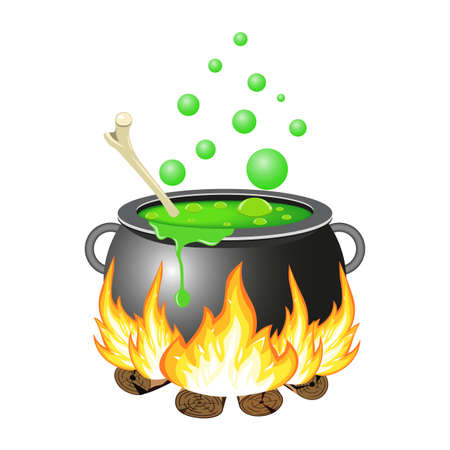 decoction: Halloween Witch cauldron with green potion isolated on white background. vector illustration for Halloween design, website, flier, invitation card