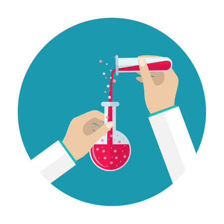chemically: Test tube and flask. Science, education, chemistry, experiment, laboratory concept. vector illustration in flat design icon. Hands with tube