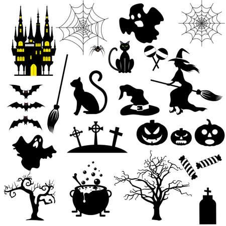 Halloween black and white icons set isolated on white background. vector illustration for Halloween design, website, flier, invitation card Illustration