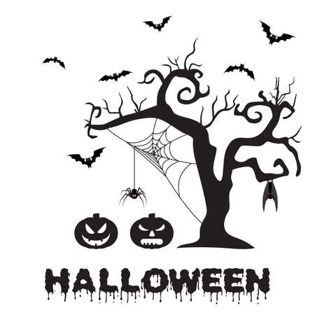 white party: Spooky silhouette of Halloween tree, pumpkin, spider on web and bats. vector illustration for Halloween design, website, flier, invitation card