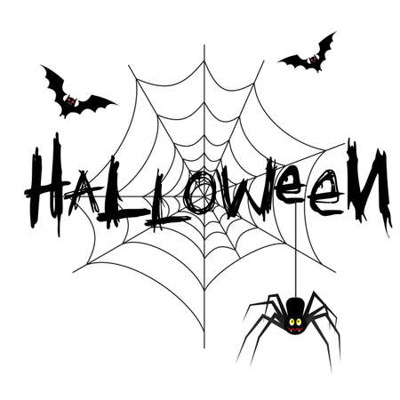 flier: Spider web with the spider and bat. Black on white. vector illustration for Halloween design, website, flier, invitation card, party
