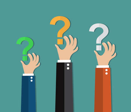 Concept of questioning, hands holding question marks. vector illustration in flat design on green background Illustration