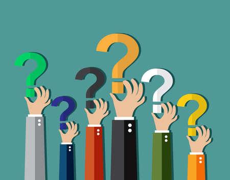 Concept de questionnement, les mains tenant des points d'interrogation. illustration vectorielle dans la conception à plat sur fond vert Vecteurs