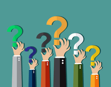 questioning: Concept of questioning, hands holding question marks. vector illustration in flat design on green background Illustration
