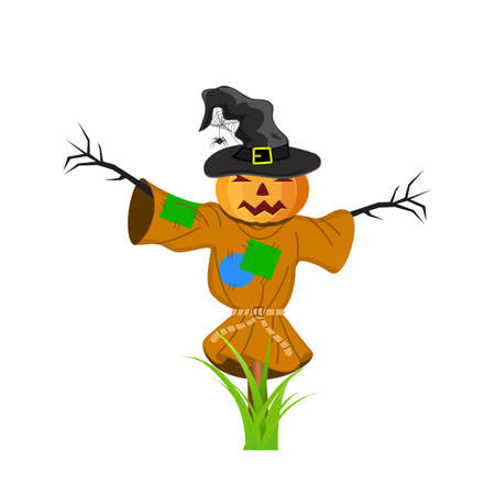 Cartoon Scarecrow with Halloween pumpkin and witches hat Isolated on white background. vector illustration for Halloween design, website, flier, invitation card Illustration