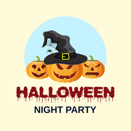 Halloween party. Vector illustration with pumpkin witches hat in flat design