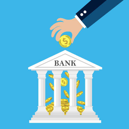 depositing: Hand putting golden coin into bank building. Depositing money in bank account concept. vector illustration in flat style