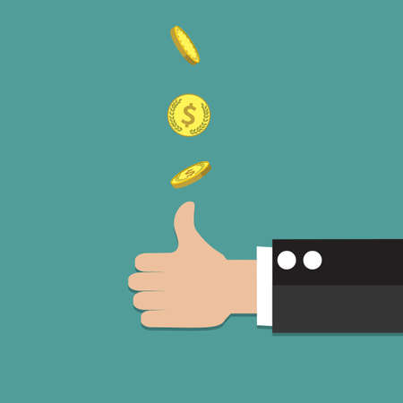 coin toss: businessman hand throwing up a coin to make decision. vector illustration in flat style