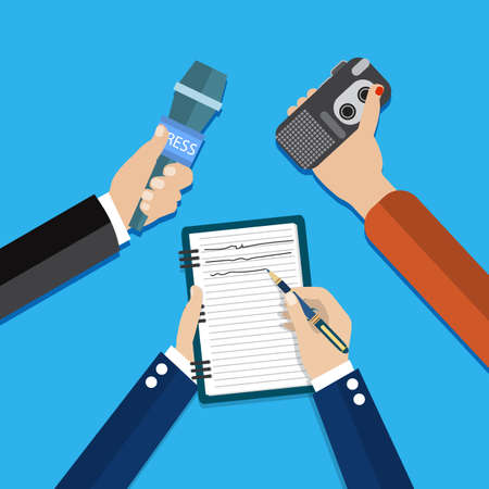 press conference: hands holding voice recorder, microphone and spiral notebook with pen. Mass media and press conference concept. journalism. vector illustration in flat style Illustration