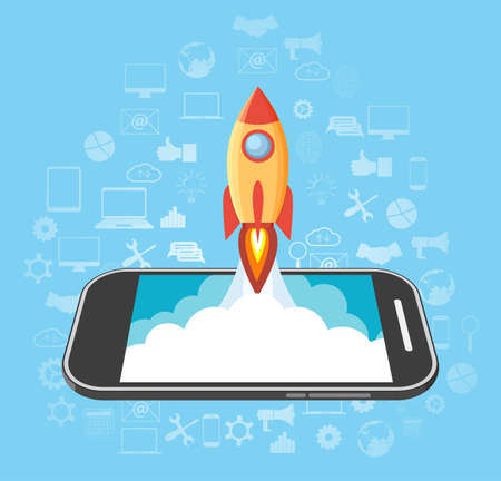 launched: Rocket launched from the phone. start up idea. mobile development and technology. vector illustration in flat style on blue background