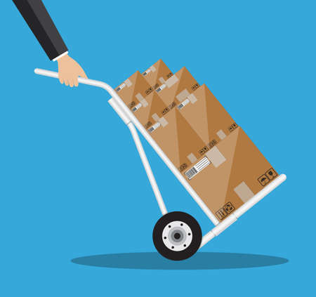 hand truck: Metallic hand truck. delivery. hand truck icon. hand truck with brown boxes. illustration in flat design on blue background