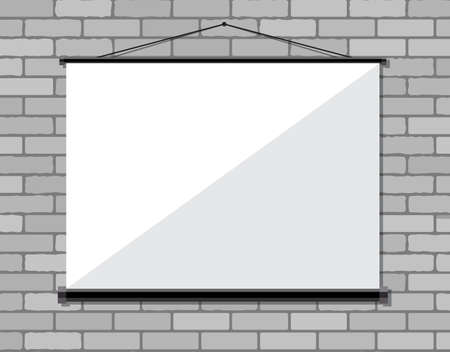 projector screen: Projector screen on brick wall, Vector illustration in flat style Illustration