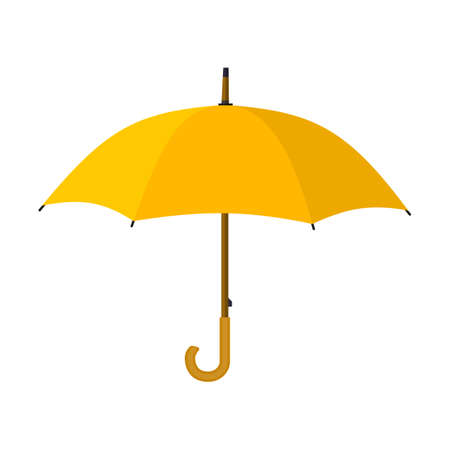 yellow umbrella: Umbrella closeup. Yellow umbrella icon. Yellow umbrella isolated on white background. vector illustration in flat style Illustration