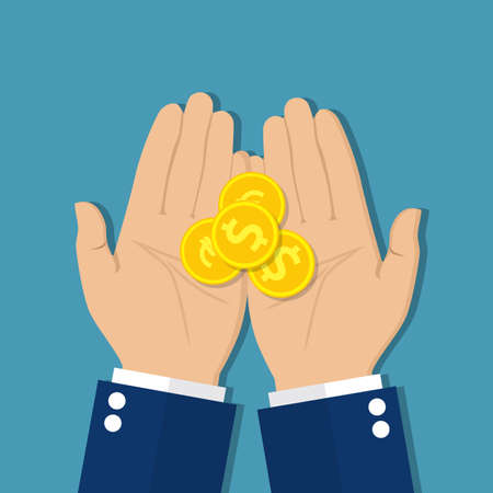 alms: Coins in hand, money in hand. Concept of charity alms donate. Receive, giving, to take, ask for money. Financial support. Vector illustration in flat design.