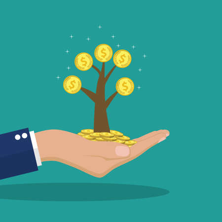 hands holding tree: Man hands holding money tree. Concept of investment, finance and business. Symbol of financial success. Growth income, business. Vector illustration in flat design. Illustration