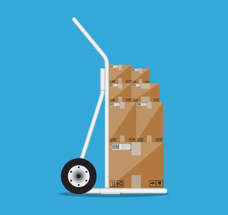 dolly: Metallic hand truck. delivery. hand truck icon. hand truck with brown boxes. vector illustration in flat design on blue background