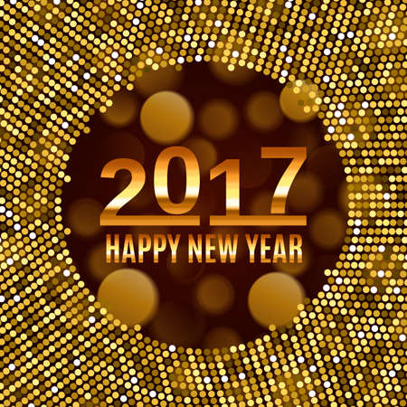New Year 2017 celebration background. Happy New Year gold type on black blurred background with gold disco lights frame. Greeting card template. Vector illustration.