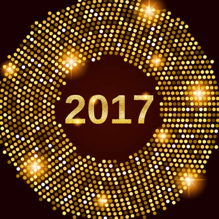 New Year 2017 celebration background. Happy New Year gold glitter type on black background with gold disco lights frame. Greeting card template. Vector illustration.