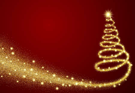 gold glitter abstract christmas tree made of sparkles and lights vector illustration greeting card