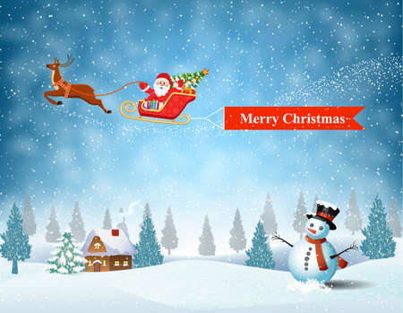 ard: Santa Claus sleigh fly over the forest, house, snowman and pulled merry christmas banner . Christmas ard, invitation, background, design template. vector illustration Illustration