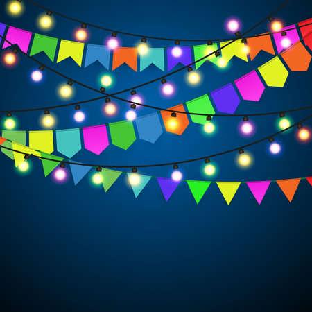 Color de golpe ligero banderín y de las luces de Navidad en las cadenas negras sobre fondo azul. evento de celebración. ilustración vectorial