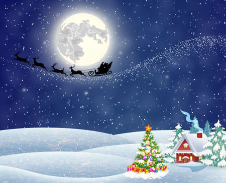 postal card: A house in a snowy Christmas landscape at night. christmas tree. background with moon and the silhouette of Santa Claus flying on a sleigh. concept for greeting or postal card, vector illustration