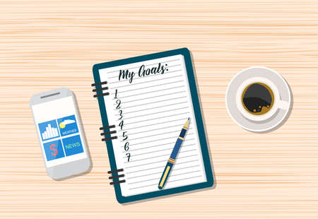 writing pad: Office wooden desk. Coffee, smartphone and blank memo with pen. vector illustration in flat style Illustration