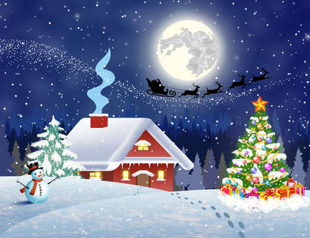 coniferous tree: A house in a snowy Christmas landscape at night. christmas tree and snowman. background with moon and the silhouette of Santa Claus flying on a sleigh. concept for greeting or postal card