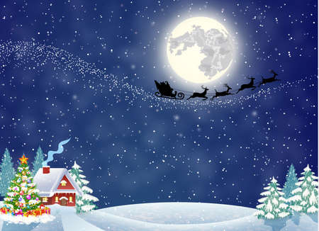 A house in a snowy Christmas landscape at night. christmas tree. background with moon and the silhouette of Santa Claus flying on a sleigh. concept for greeting or postal card Illustration