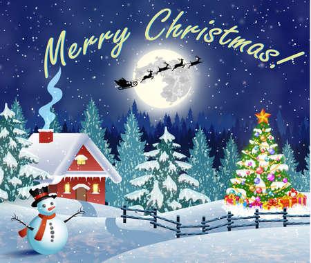Weihnachtslandschaft mit Weihnachtsbaum und Schneemann mit gifbox. Hintergrund mit Mond und die Silhouette von Santa Claus auf einem Schlitten fliegen. Konzept für Gruß oder Postkarte, Vektor-Illustration
