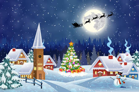 A house in a snowy Christmas landscape at night. christmas tree and snowman. background with moon and the silhouette of Santa Claus flying on a sleigh. concept for greeting or postal card