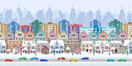 winter city street with trees and car. seamless border panorama with a winter cityscape. vector illustration
