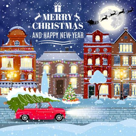 frohes neues Jahr und frohe Weihnachten Winter alte Stadtstraße mit Weihnachtsbaum und Auto. Konzept für Gruß und Postkarte, Einladung, Vorlage, Vektor-Illustration. Weihnachten Vintage-Karte
