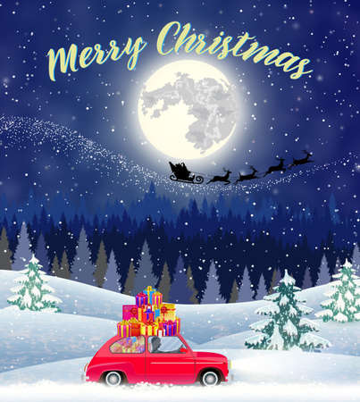 postal card: Christmas landscape card design of retro car with giftbox on the top. background with moon and the silhouette of Santa Claus flying on a sleigh. concept for greeting or postal card,