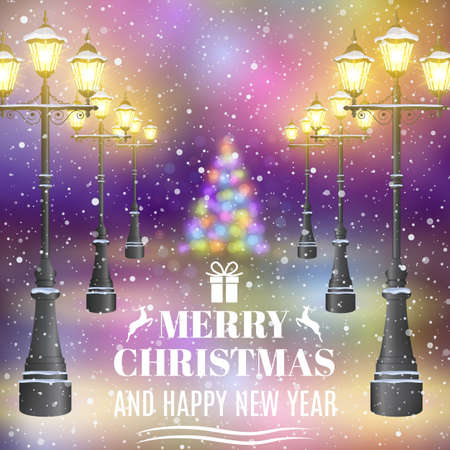 postal card: happy new year and merry Christmas greeting card. night street. concept for greeting, postal card, invitation, template,