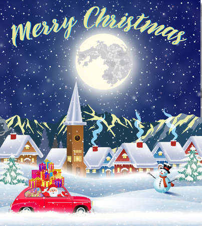 Christmas landscape card design of retro car with giftbox on the top. background with moon and the Santa Claus drivinng on a car. concept for greeting or postal card,