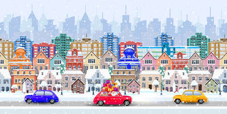 Christmas Santa Claus driving on car with giftbox on winter city street. seamless border panorama with a winter cityscape. vector illustration Illustration