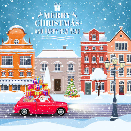 happy new year and merry Christmas winter old town street with christmas tree and Santa Claus drivinng on a car. concept for greeting and postal card, invitation, template