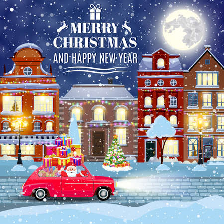happy new year and merry Christmas winter old town street with christmas tree and Santa Claus drivinng on a car. concept for greeting and postal card, invitation, template, Vectores