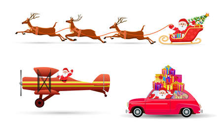 christmas eve: Santa Claus on Sleigh and His Reindeers, car with giftbox, airplane Isolated on White Background. vector illustration Illustration