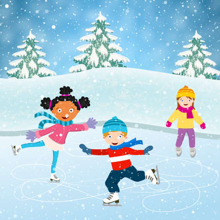 Winter scene with skating children. Illustration of kids having fun in the winter skating rink. Children boy and girl on the winter ice-skating rink. vector illustration Illustration