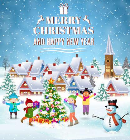 frohes neues Jahr und frohe Weihnachten Grußkarte. Winterspaß. Kinder schmücken einen Weihnachtsbaum. Winterferien. Vektor-Illustration