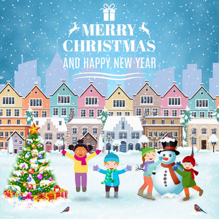 postal card: happy new year and merry Christmas winter old town street with christmas tree. concept for greeting and postal card, invitation, template, Children building snowman