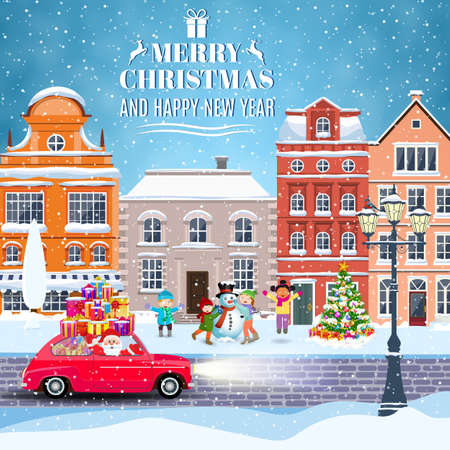 happy new year and merry Christmas winter old town street with christmas tree and Santa Claus drivinng on a car. Children building snowman