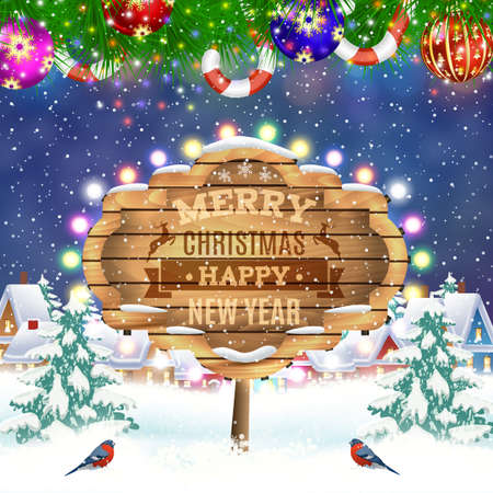 postal card: meryy Christmas and happy new year vintage greeting card on winter village. Christmas signboard and Winter landscape. Vector illustration. concept for greeting or postal card